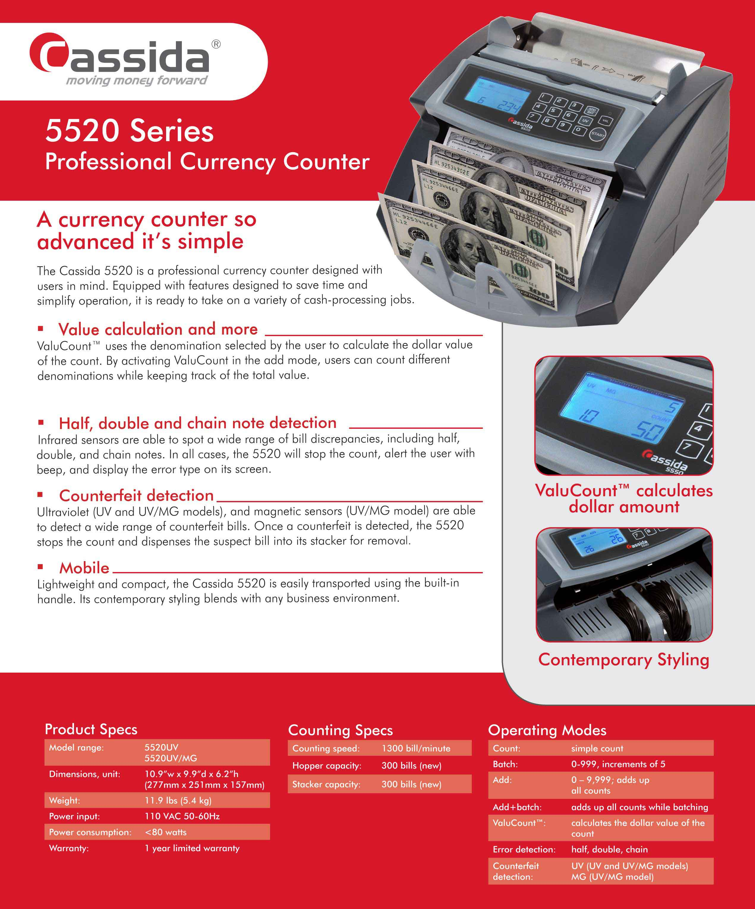 Cassida 5520 Money Counter Brochure