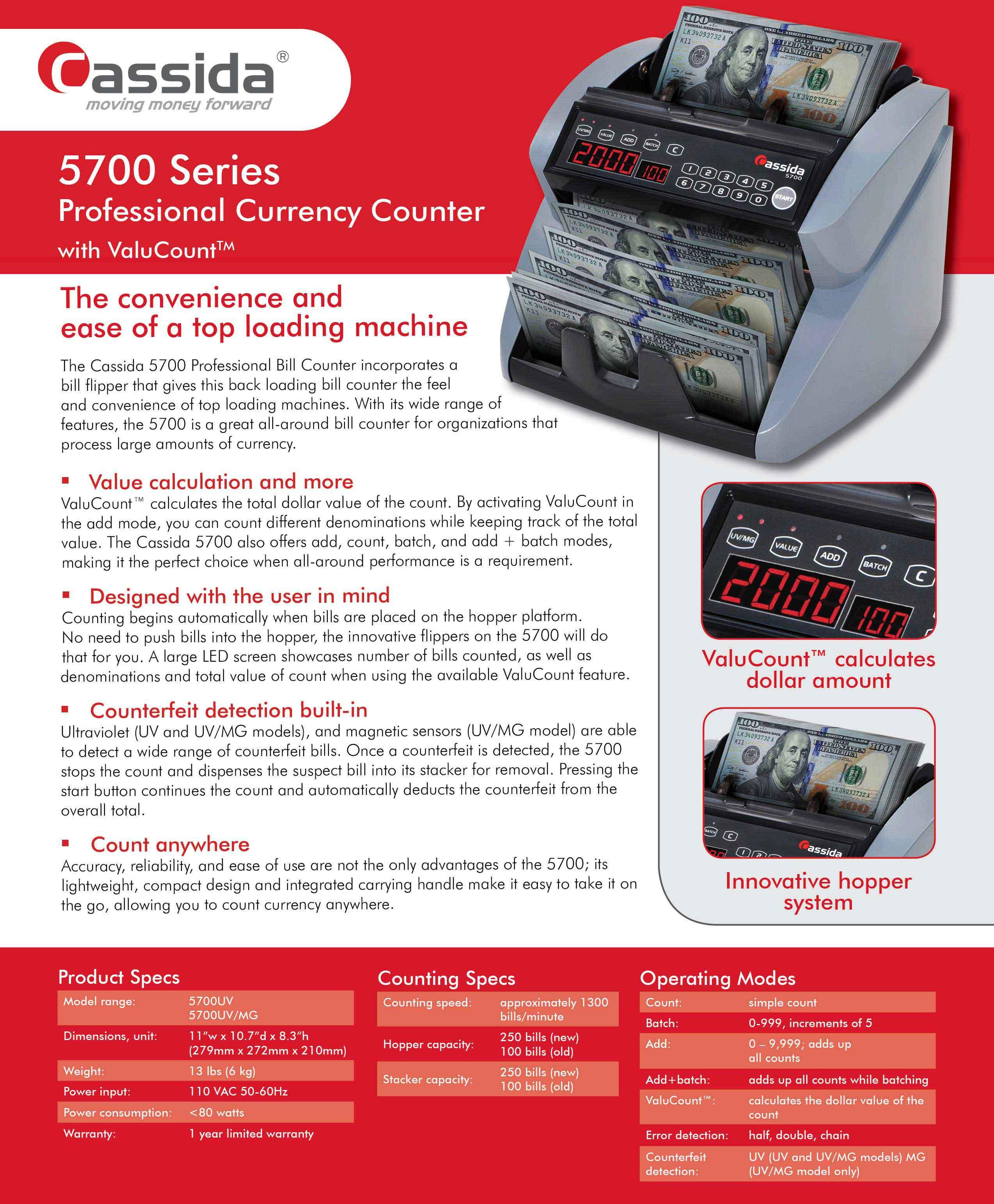 Cassida 5700 Money Counter Brochure