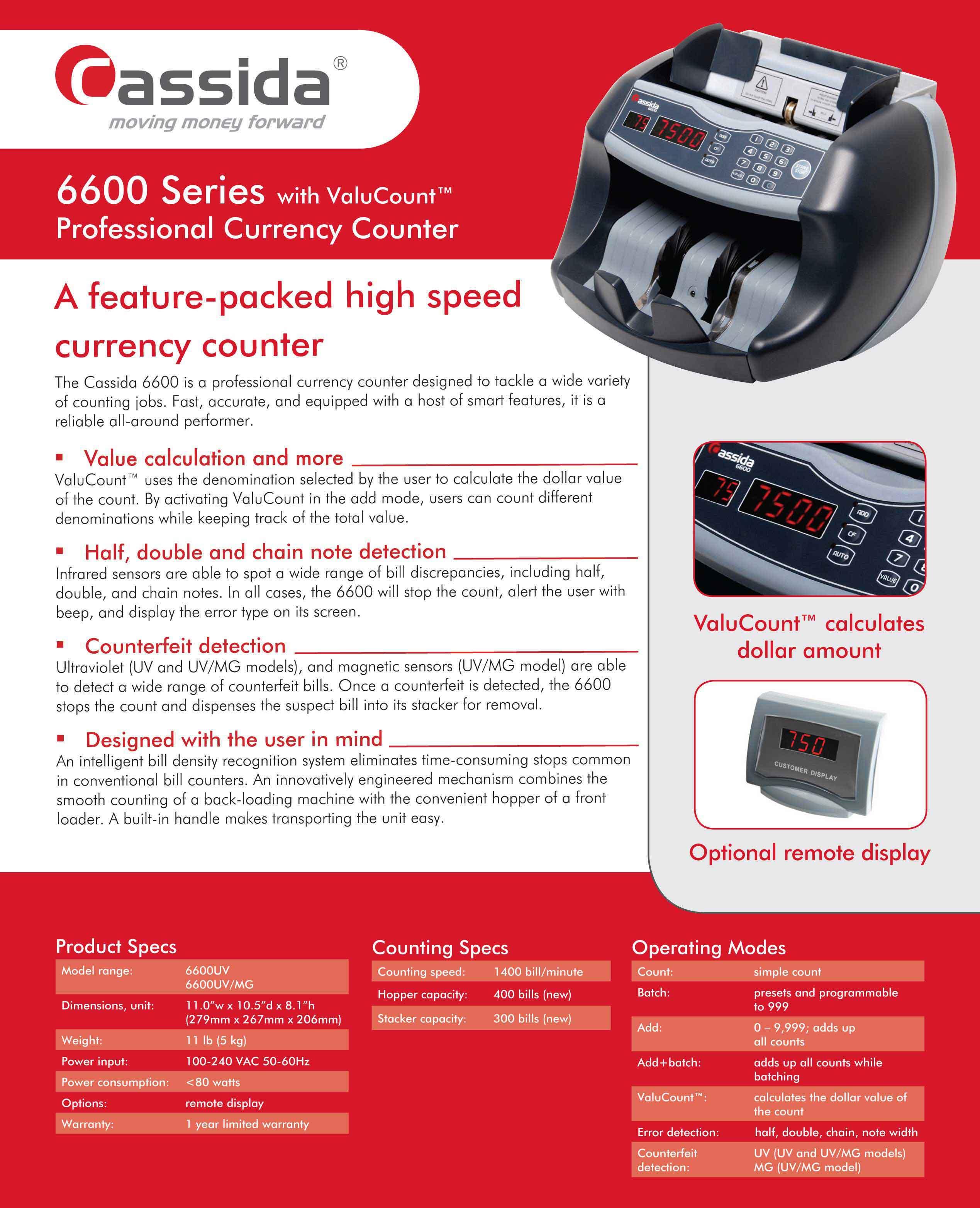 Cassida 6600 Money Counter Brochure