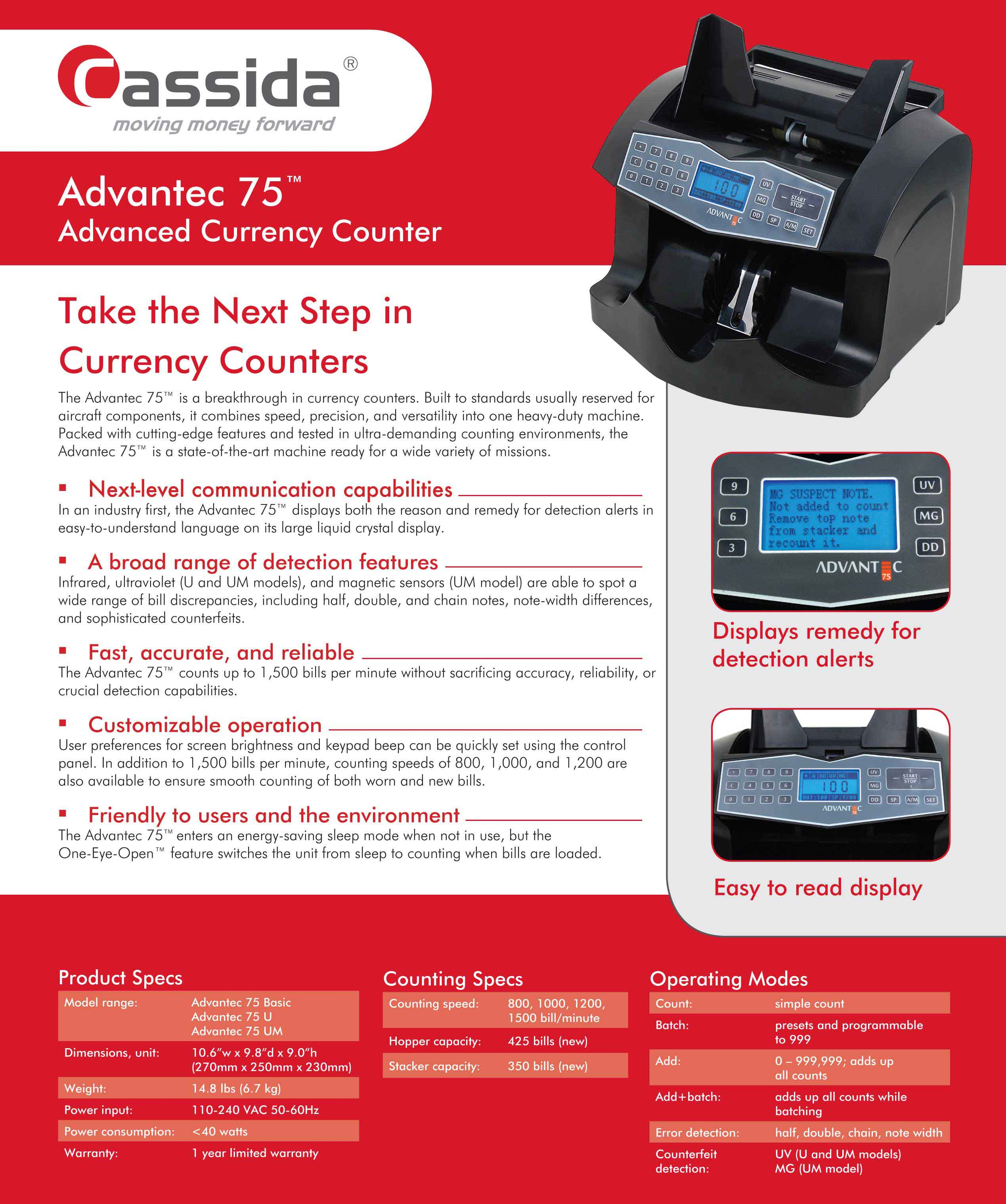 Cassida Advantec 75 Money Counter Brochure