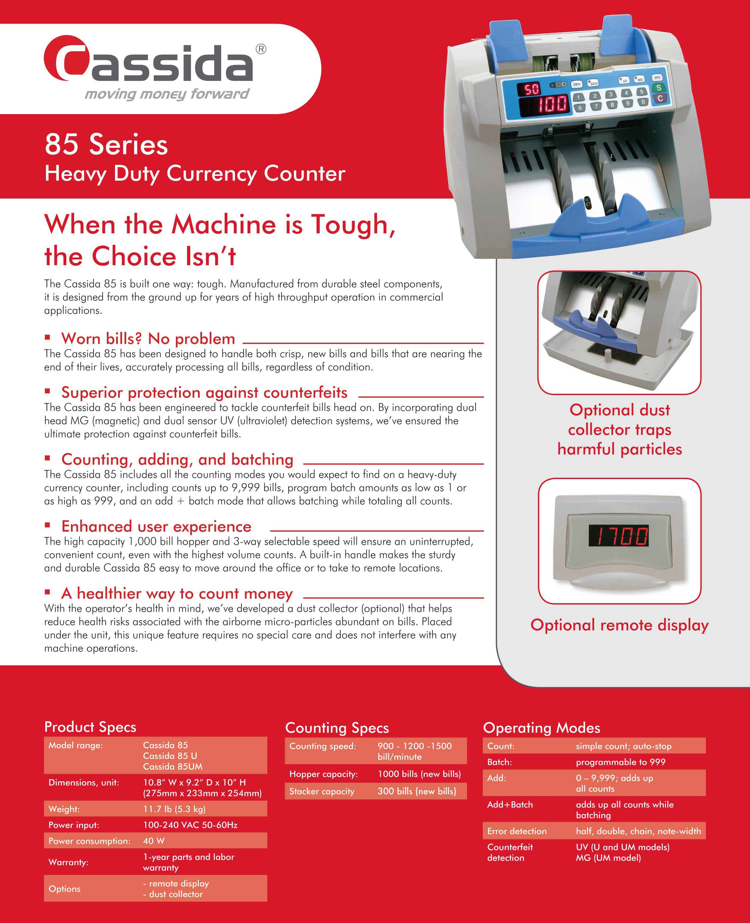 Cassida Advantec 85 Money Counter Brochure