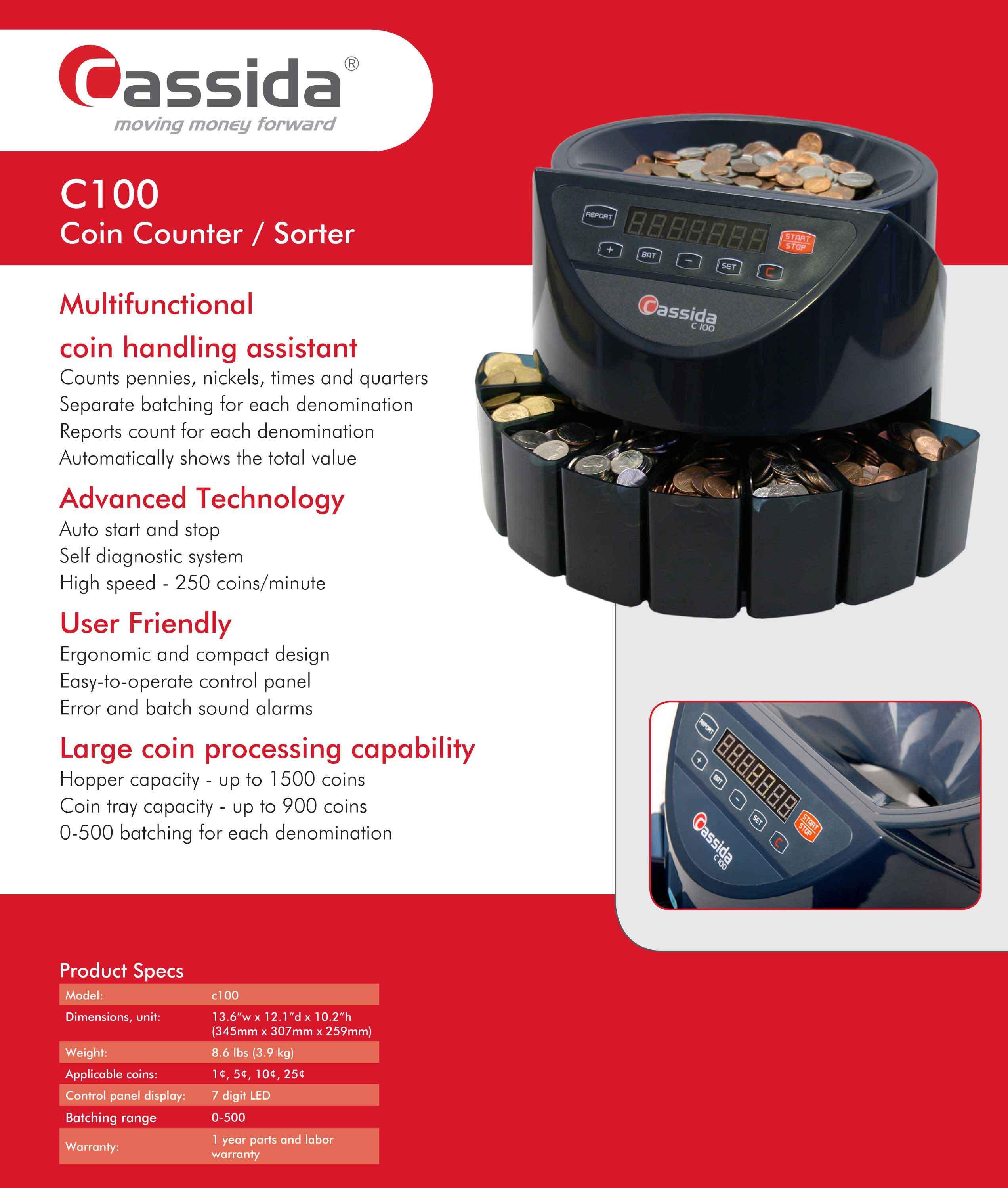 Cassida C100 Coin Sorter Brochure