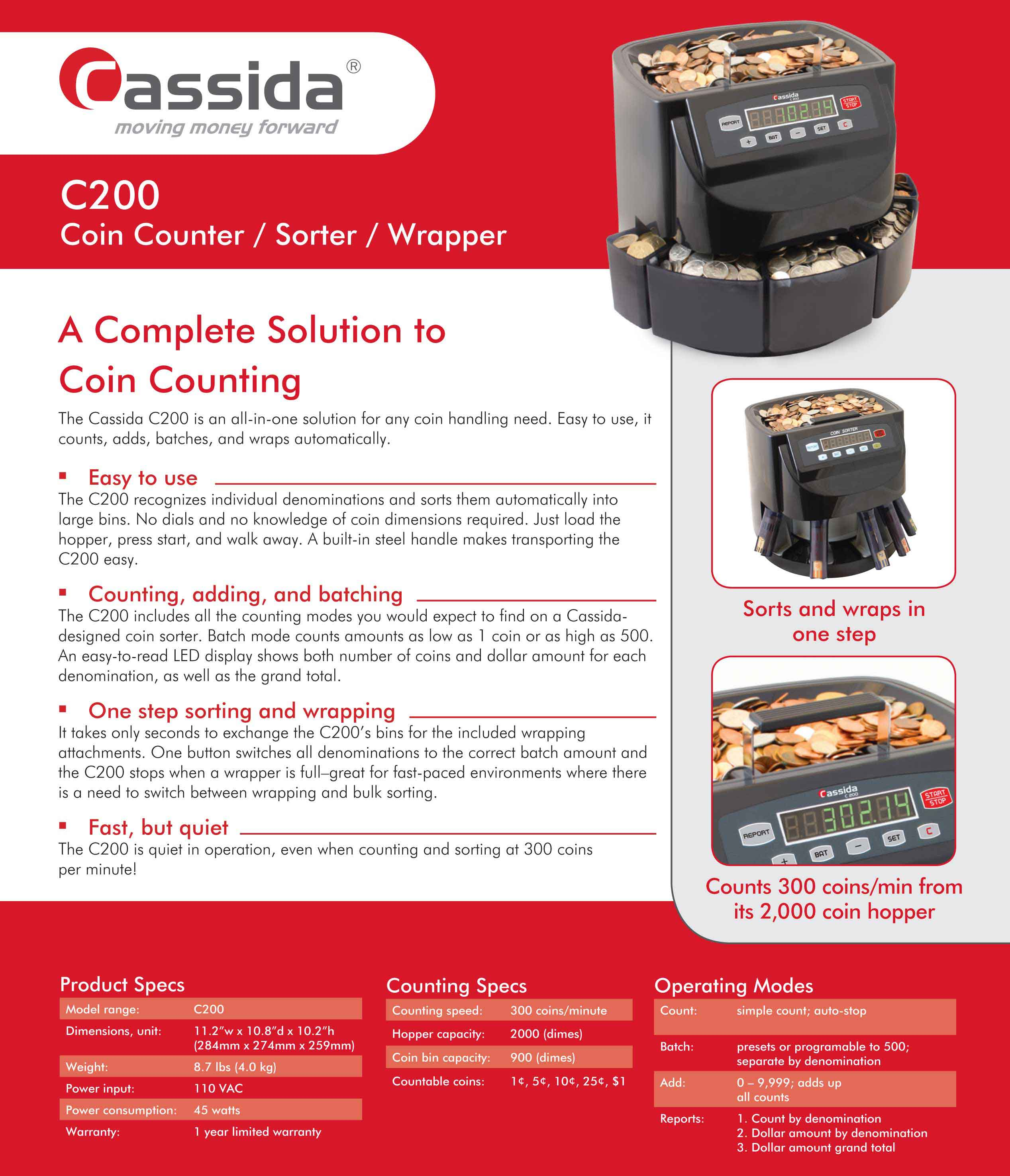 Cassida C200 Coin Sorter Brochure