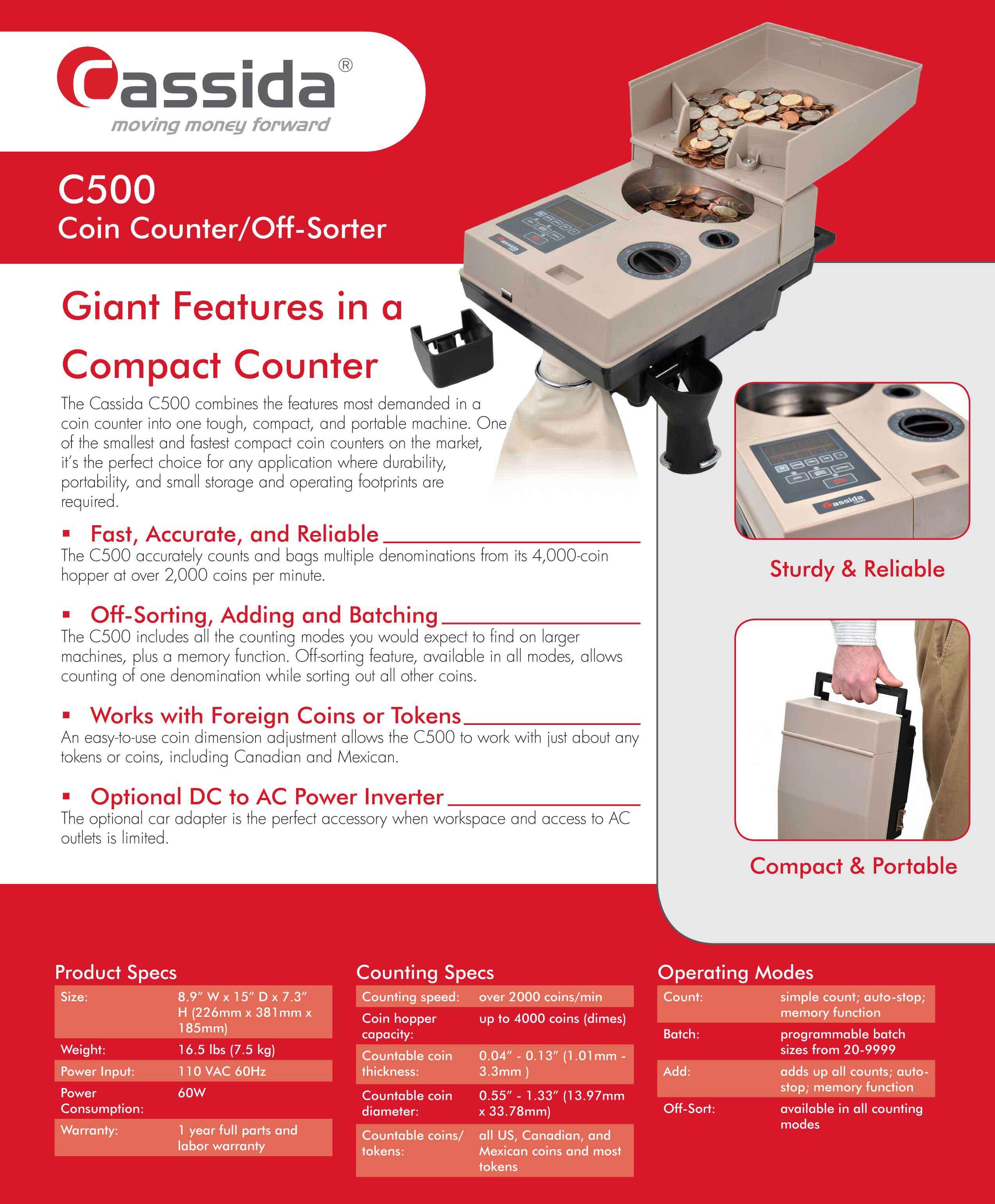Cassida C500 Coin Sorter Brochure
