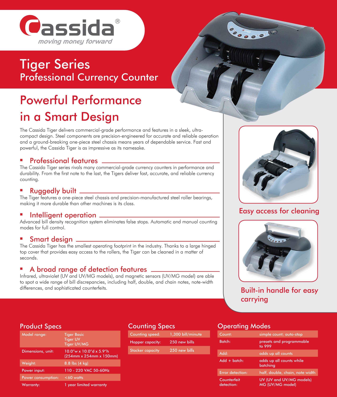 Cassida Tiger Money Counter Brochure