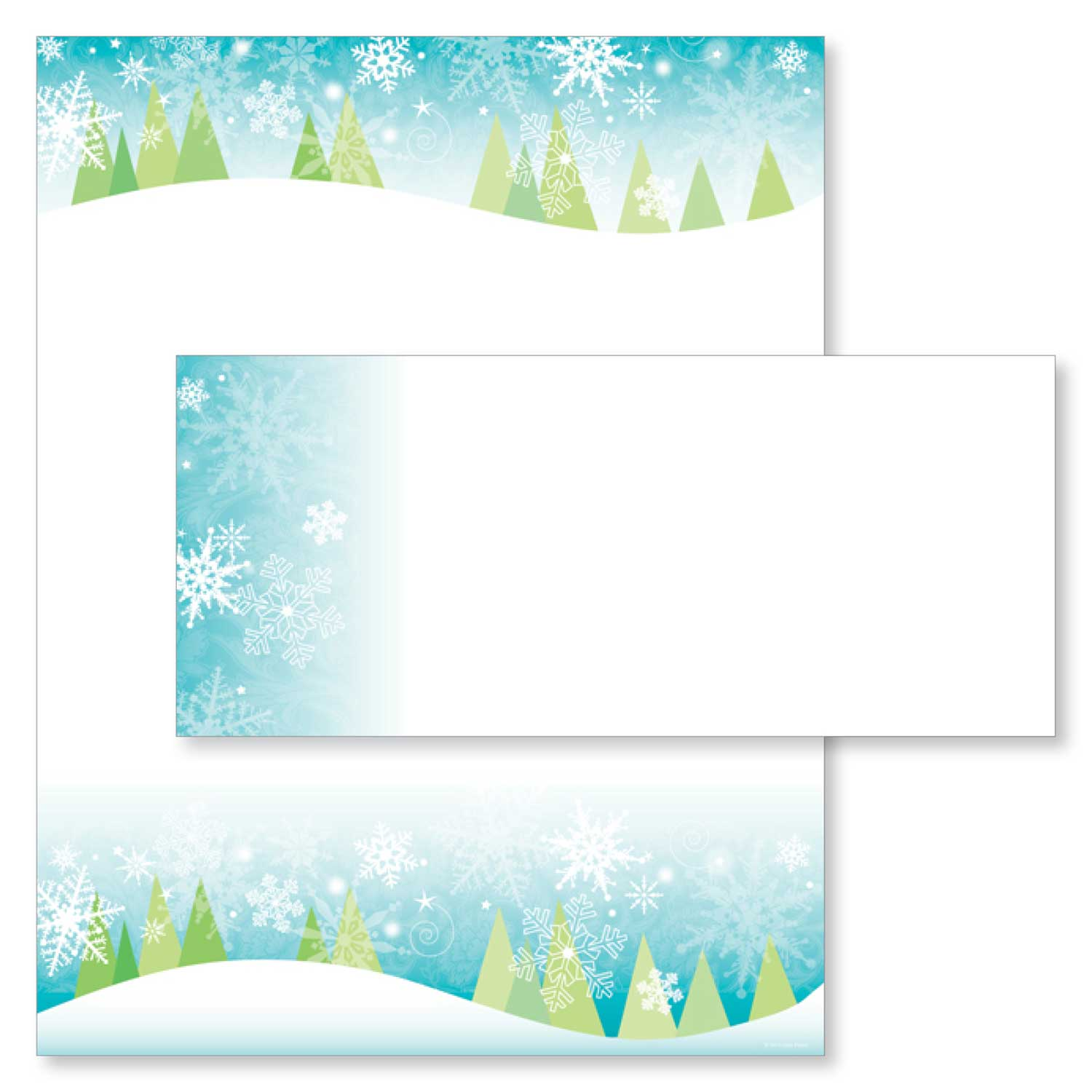 Snowy Trees Christmas Border Holiday Printer Paper Holiday