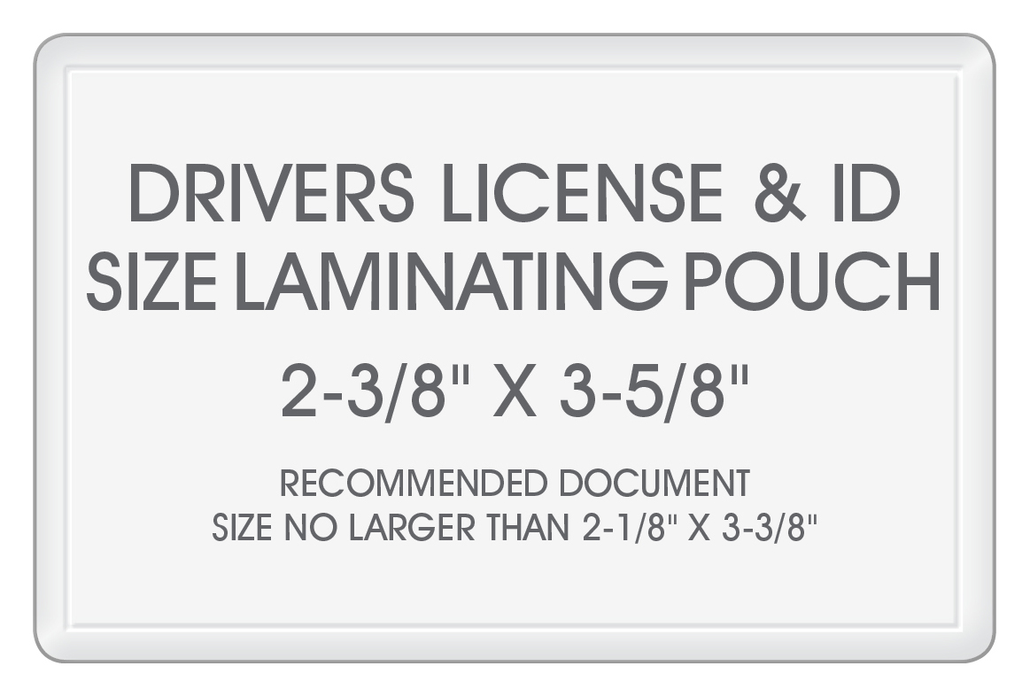 5 MIL Drivers License & ID Card Laminating Pouches (2-3/8\
