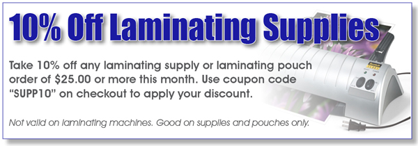 10% Off Laminating Pouches and Supplies with Coupon Code