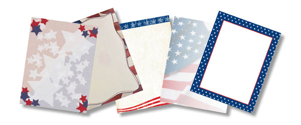 Patriotic, American, 4th of July and Independence Day Paper Stock